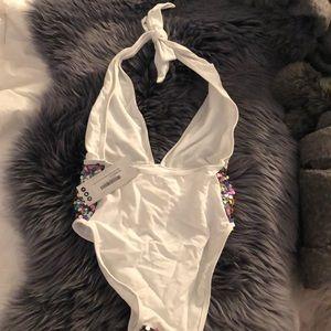 Boohoo Swim - Sequin Plunge Swimsuit ⭐️